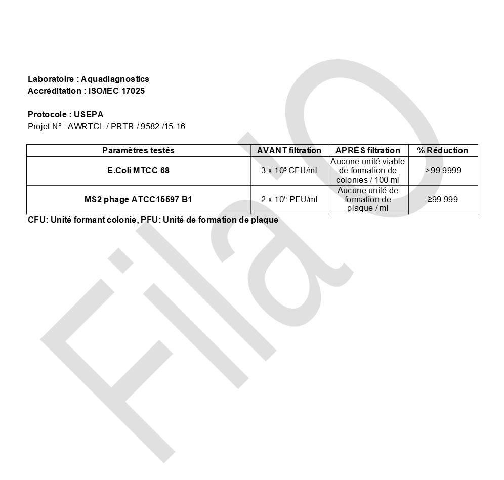 Rapport tests FilaO - Filtration microbiologique bactéries virus